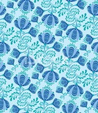 abstract floral seamless vector pattern in folk Russian style.