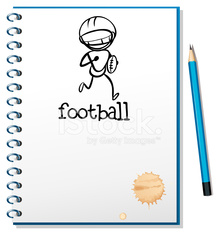 Notebook with sketch of football athlete