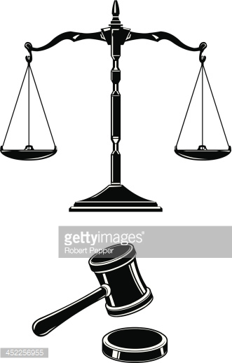 Scales of Justice With Hammer and Gavel