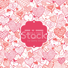 Romantic doodle hearts frame seamless pattern background
