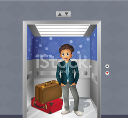 boy with two travelling bags inside the elevator