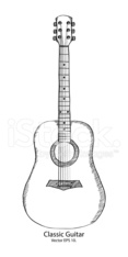 Doodle Classic Guitar Vector Illustration.