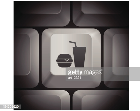 Fast Food Icon on Computer Keyboard