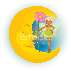 Fairy holding flower and sleeping moon