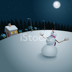 snow puppet in the moonlight