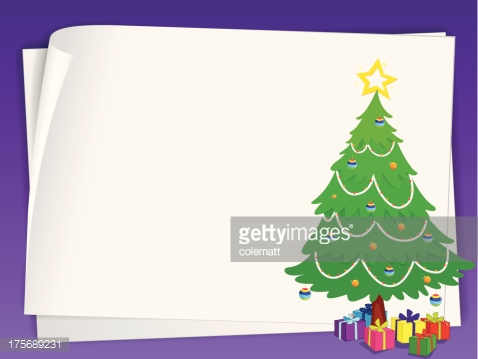 paper sheets and christmas tree