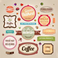 Food paper labels set