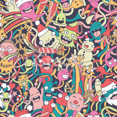 Christmas seamless pattern with cute crazy monsters