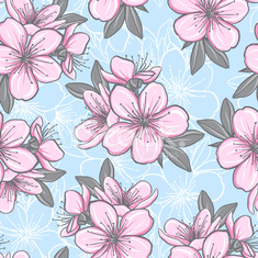 Seamless pattern with cherry blossom
