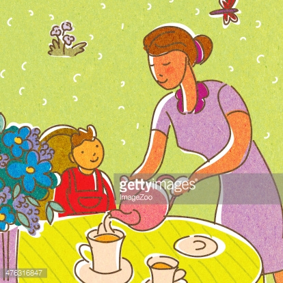 mother pouring tea for her child