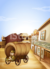 Little girl sitting in the wooden carriage