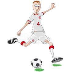 soccer player with white shirt and red edges