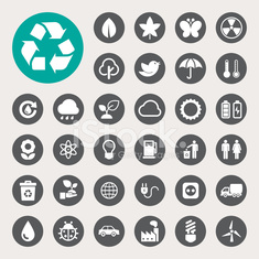Eco energy icons set.
