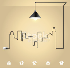 Cityscape with creative wire light bulb idea concept