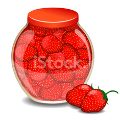 jar of strawberry jam and berry