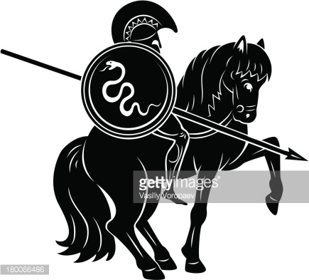 Gladiator with a snake shield on a horse