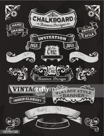 Chalkboard Design Elements. Frames and banners