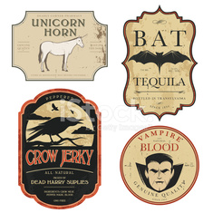 Funny vintage colored Halloween potion labels