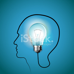 Idea concept Human head with light bulb