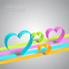 I love you design with colorful hearts and lines