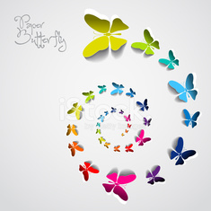 Beautiful colorful paper butterfly design