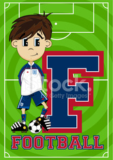 Football Boy Learning Letter F