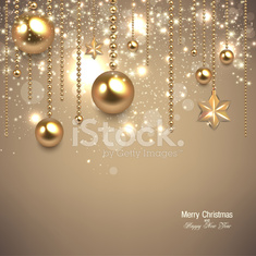 Elegant christmas background with golden baubles and stars.