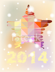 Vector Christmas and New Year hand-painted decoration. Star