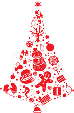 Christmas Tree Made With Winter Decoration Icons