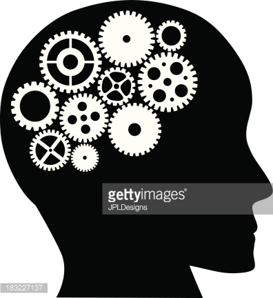 Human Head with Mechanical Gears Vector Illustration