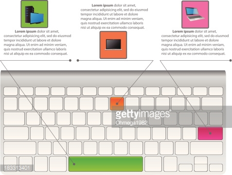 Infographic Diagram with Desktop Keyboard, Technology and Business Concept.