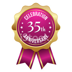 Gold pink thirty-five year anniversary badge with ribbon