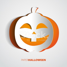 Paper Halloween Pumpkin isolated on white