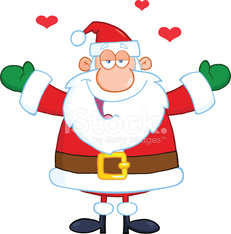 Happy Santa Claus With Open Arms Wanting A Hug