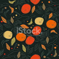 Floral colorful pattern with orange branches