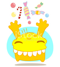 Funny monster with sweets