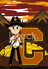 Cute Cowboy Sheriff Learning Letter C