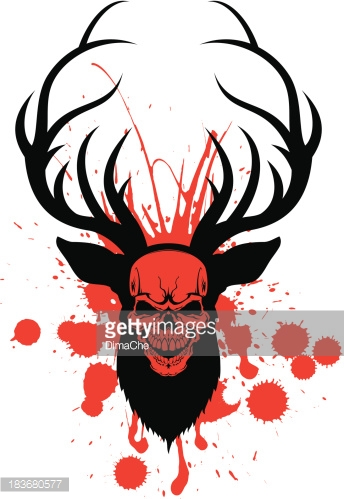 deer with human skull and blood