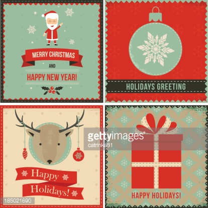 Christmas greeting banners set