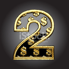 Vector black letter 2 with dollars