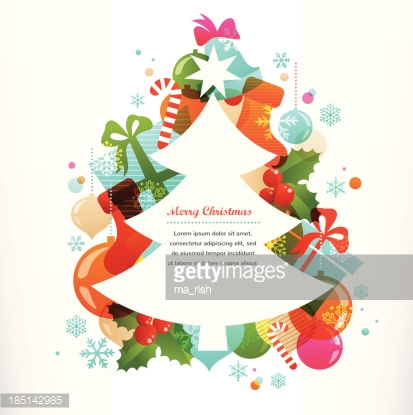 Christmas tree with labels and decorative elements