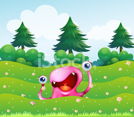 pink monster near the pine trees