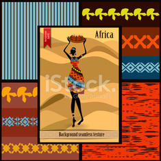Set of seamless textures with African woman