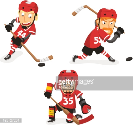 Ice Hockey Player in Action Set
