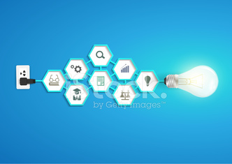 Vector light bulb idea with hexagon chemistry and science icon