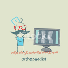orthopaedist on the monitor shows an X-ray