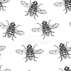 Hand-drawn bees seamless pattern