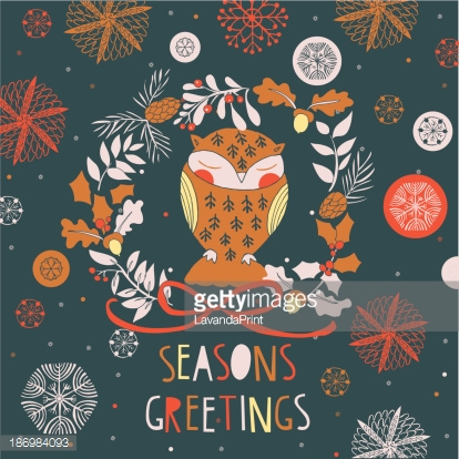 Adorable litttle owl Christmas card