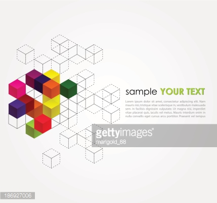 Abstract empty background with cubes and grid