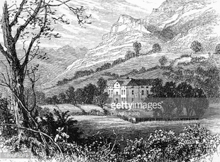 19th century engraving of a rural valley, Italy